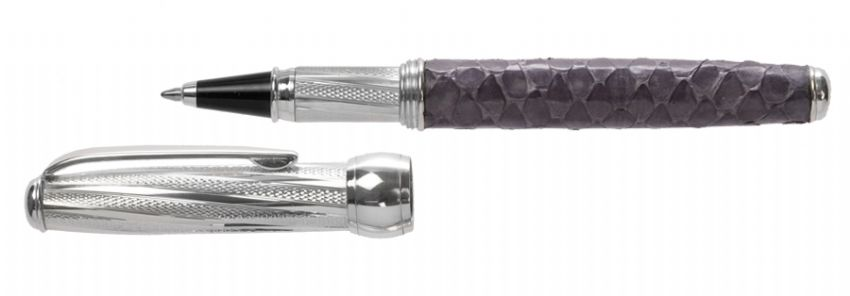 Sterling Silver Rollerball Pen - Via Roma Twist Design and Purple Cobra Skin - Hallmarked Sterling Silver | Silver Pen | Sterling Silver Rollerball Pens
